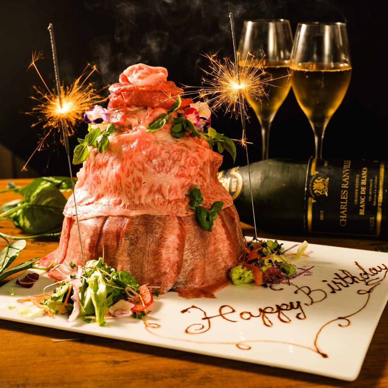 誕生日・記念日に◎!特製肉ケーキ!
