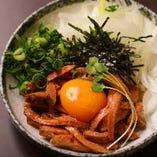 【牛タンユッケ】 人気の低温調理!濃厚な卵黄を絡めて♪