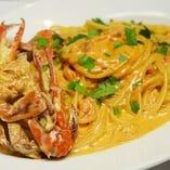 渡り蟹のトマトクリームソース スパゲッティ