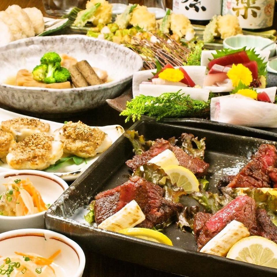 【充実】『特撰牛と北海道産ズワイガニの天ぷら+旬の焼魚コース』飲み放題付料理全9品…税込6500円