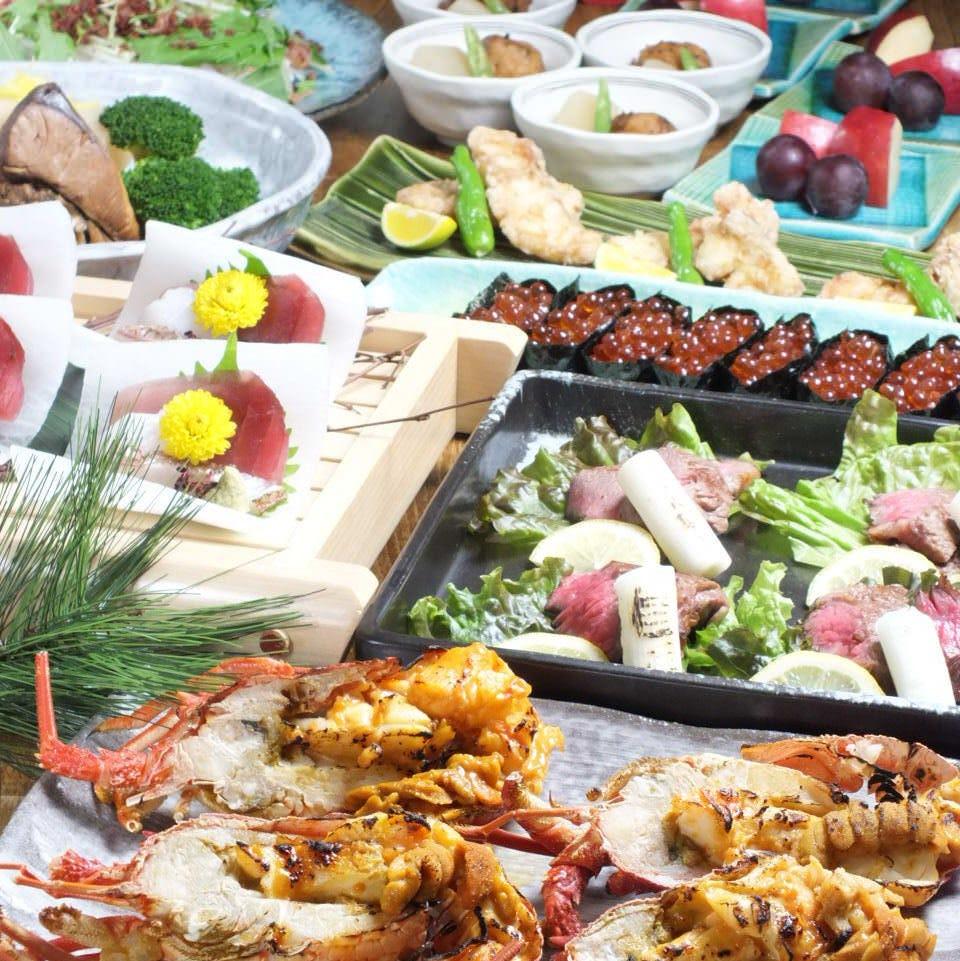 【極上】伊勢海老のウニ焼と飛騨牛炙りコース  飲み放題付き 全8品  8500円税込