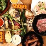 グリル おすすめ!【グリルコンボ】 旬なお野菜(8種)とお好みのお肉をチョイスしたオススメのグリルコンボ♪