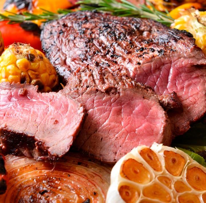【がっつりお肉コース】2H飲放付6品 5,500円 切り落とし&ハラミステーキ、ハンバーグなど肉にづくし!