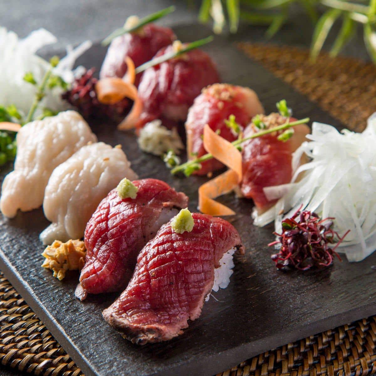 話題の炙り肉寿司が食べ放題