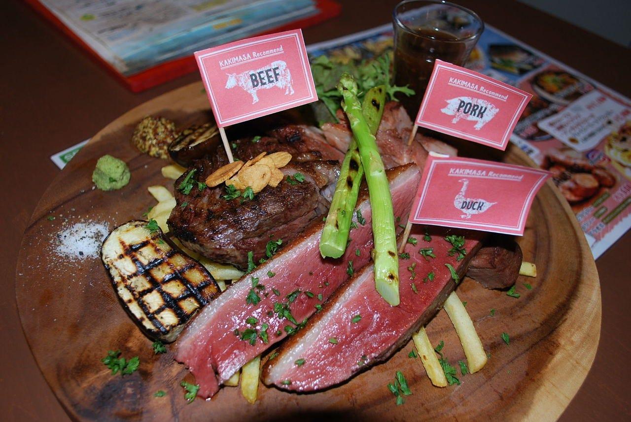 鴨、牛、豚の食べ比べ!!ミートプラッター☆牡蠣&肉のこだわり