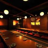 ご宴会にも最適な個室ございます。最大で34名様まで着席可能。