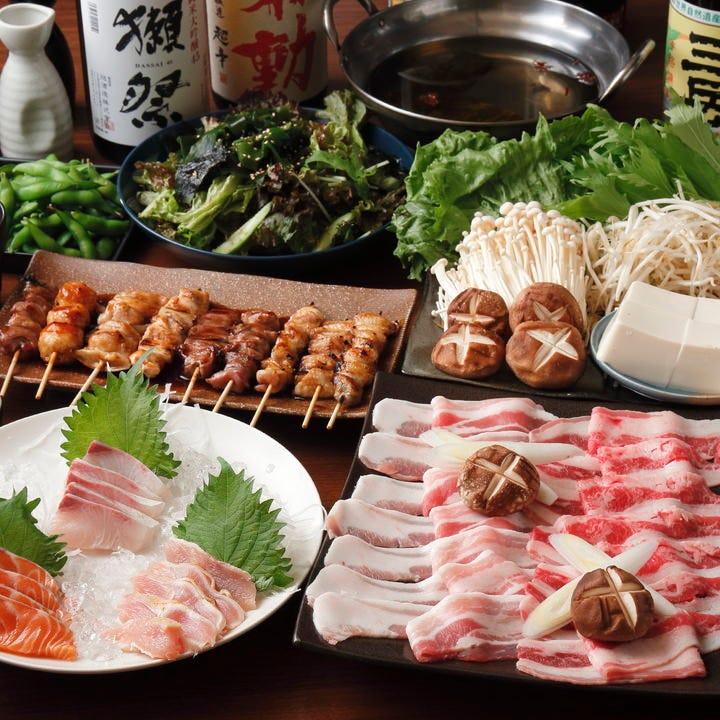 モツ鍋や焼き鳥を味わう飲み放題付コースは3,500円から!