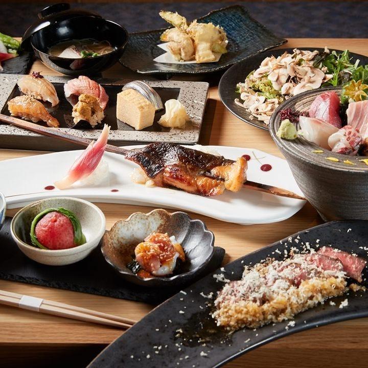 旬食材をふんだんに使用する焼乃魚島コースは記念日利用にも
