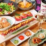 人気のロングユッケ寿司のコース!飲み放題付き  3981円!