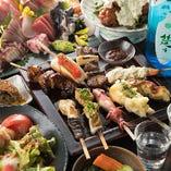 当店看板メニューの魚串は、全てのコースでお愉しみいただけます。品数豊富なコースは、飲み放題付もございます。
