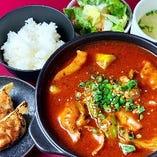 ラム肉と白菜の四川風激辛煮込定食