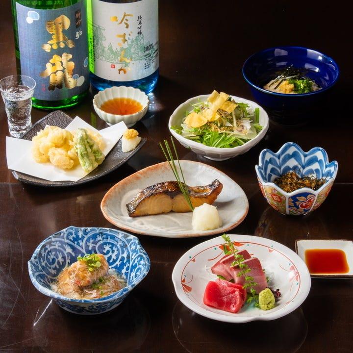 和モダンな空間で本格和食と日本酒を