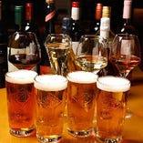 コースに+500円(税抜)で生ビールと10種類以上の世界のワイン&スパークリングがのみ放題に♪