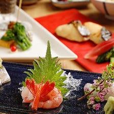 華やかな前菜盛り合わせに鮮度抜群のお造りが付く『ランチ限定コース』全6品|宴会