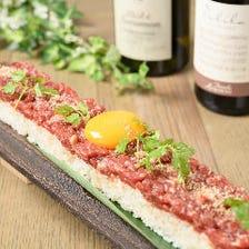 新鮮桜ユッケをふんだんに乗せた30cmロングユッケ寿司♪