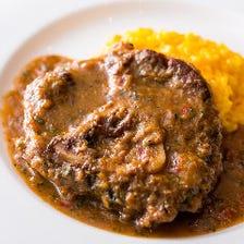 オッソブッコ 仔牛すね肉の煮込み ミラノ風 サフランリゾット添え