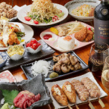 【平日昼限定】鶏もも肉炙り、マグロの中落ちなど多彩な8品『ママ友宴会コース』飲み放題付
