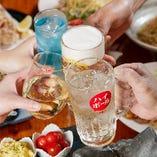 宴会コースは120分飲み放題付!+500円(税抜)で「プレミアム飲み放題」に変更可能です