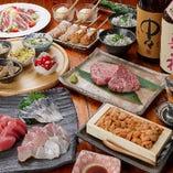 【接待・会食に】上質&豪華!A5ランク黒毛和牛や鮮魚造りを含む8品『旬食材の鉄板焼コース』飲み放題付