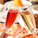 [コース特典] 飲み放題にスパークリングワインを無料で追加OK☆