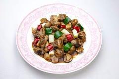 牛カルビとフクロ茸の黒胡椒炒め