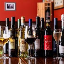 厳選イタリアワインは40種以上を常備