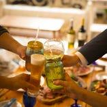 【飲み放題ドリンクは約50種】 カクテルはメイソンジャーで♪ビール、ワイン、ウイスキーも飲める!