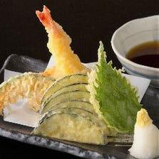 大海老と野菜の天婦羅盛り