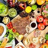 野菜のタパスやアヒージョなど、肉以外のメニューも充実。