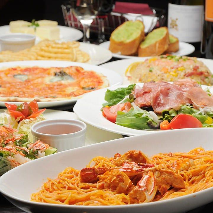 +2000円(税込)で飲み放題付に♪本格イタリアン&アジアン料理を満喫!