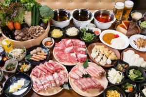 黒毛和牛しゃぶしゃぶコース!お肉だけで8種、海鮮、新鮮野菜、サイドメニュー全50種以上食べ放題