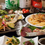 【お得なかず家のコース】炭火で焼いた焼き魚やお野菜などが楽しめます。