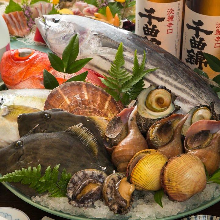 店内生簀の活魚&市場直送本日の鮮魚